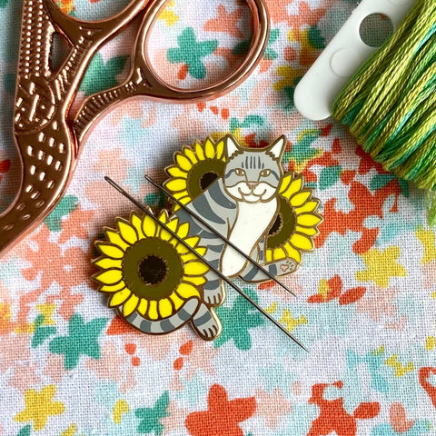 Magnetic Needleminder - Grey Cat 40mm Hard Enamel Pin Converted to Needle Minder with Very Strong N50 Neodymium Magnets