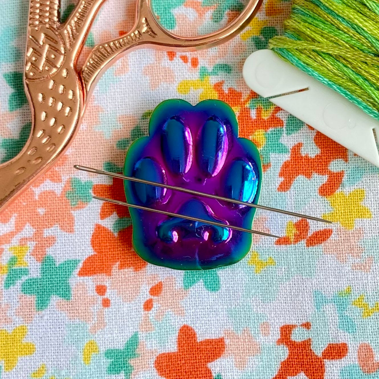 Magnetic Needleminder - 3D Rainbow Cat's Paw 30mm Hard Enamel Pin Converted to Needle Minder with Very Strong N50 Neodymium Magnets