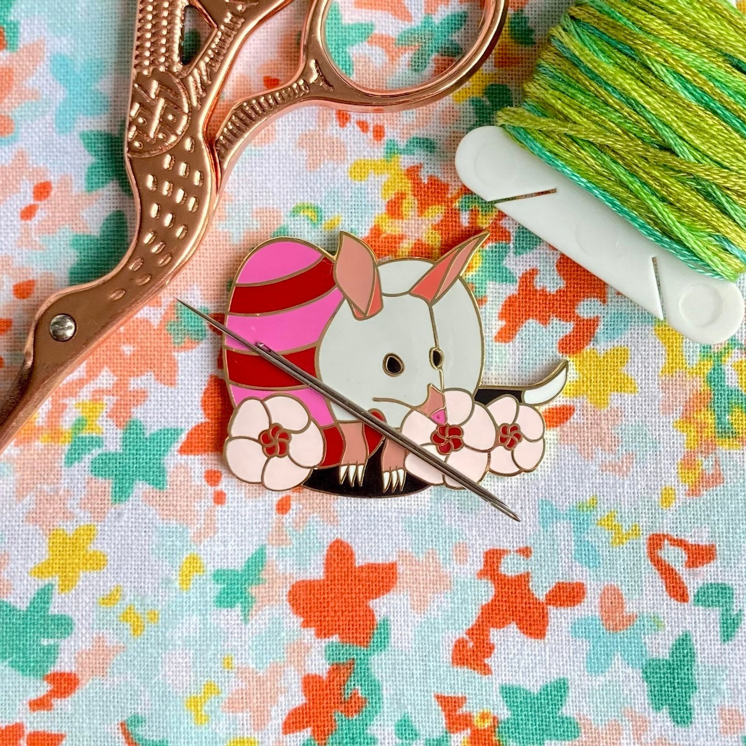 Magnetic Needleminder - Easter Bilby 40mm Hard Enamel Pin Converted to Needle Minder with Very Strong N50 Neodymium Magnets