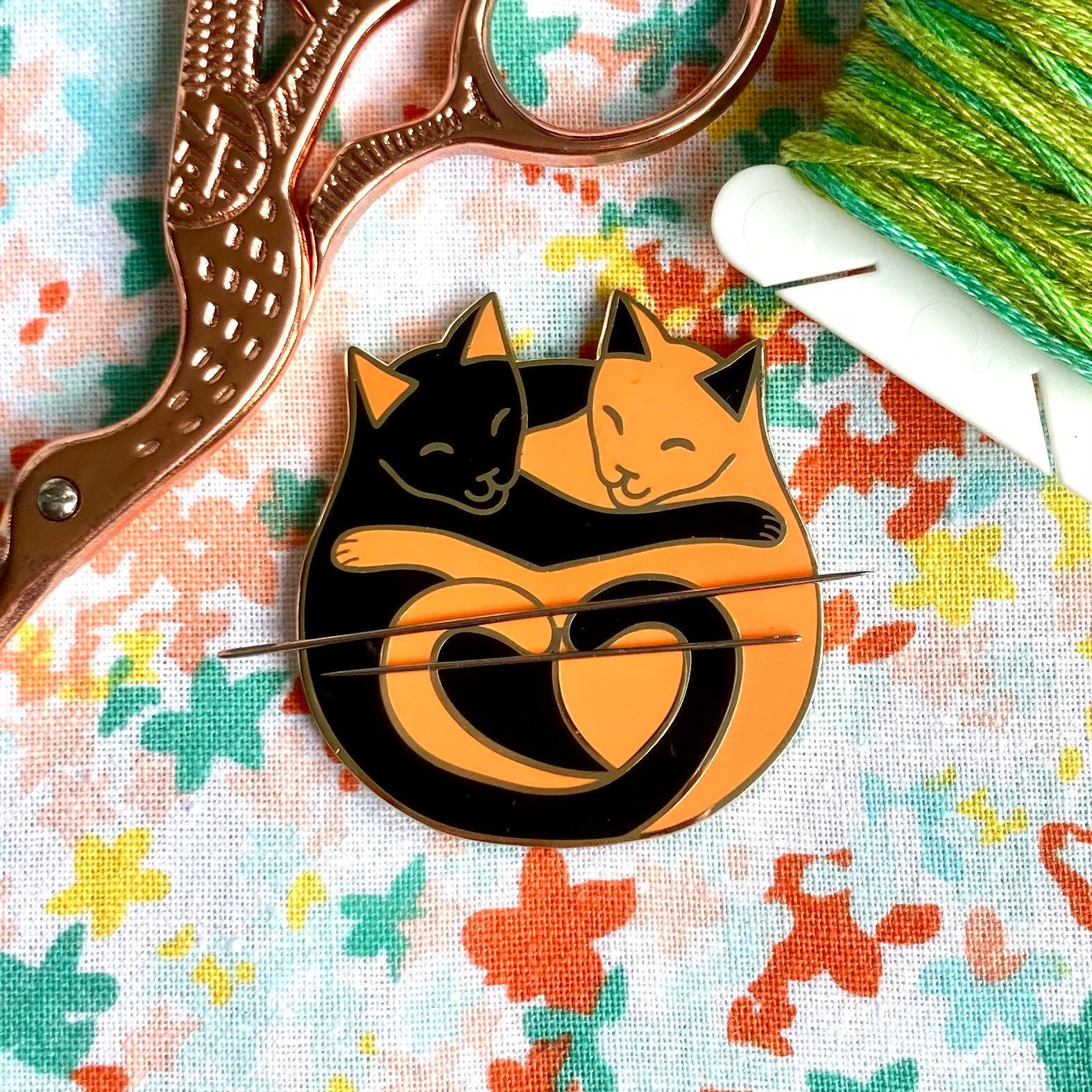 Magnetic Needleminder - Cuddling Cats Black and Orange 40mm Hard Enamel Pin Converted to Needle Minder with Very Strong Neodymium Magnets