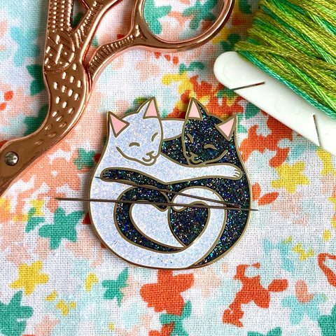 Magnetic Needleminder - Cuddling Cats Black and White Glitter Hard Enamel Pin Converted to Needle Minder with Very Strong Neodymium Magnets