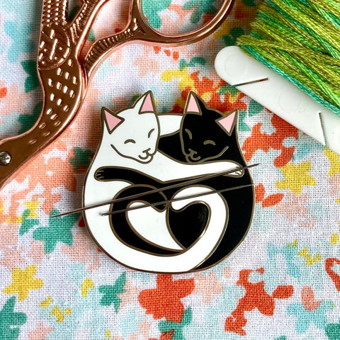 Magnetic Needleminder - Cuddling Cats Black and White 40mm Hard Enamel Pin Converted to Needle Minder with Very Strong N50 Neodymium Magnets