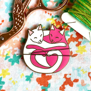 Magnetic Needleminder - Cuddling Cats Pink and White 40mm Hard Enamel Pin Converted to Needle Minder with Very Strong N50 Neodymium Magnets