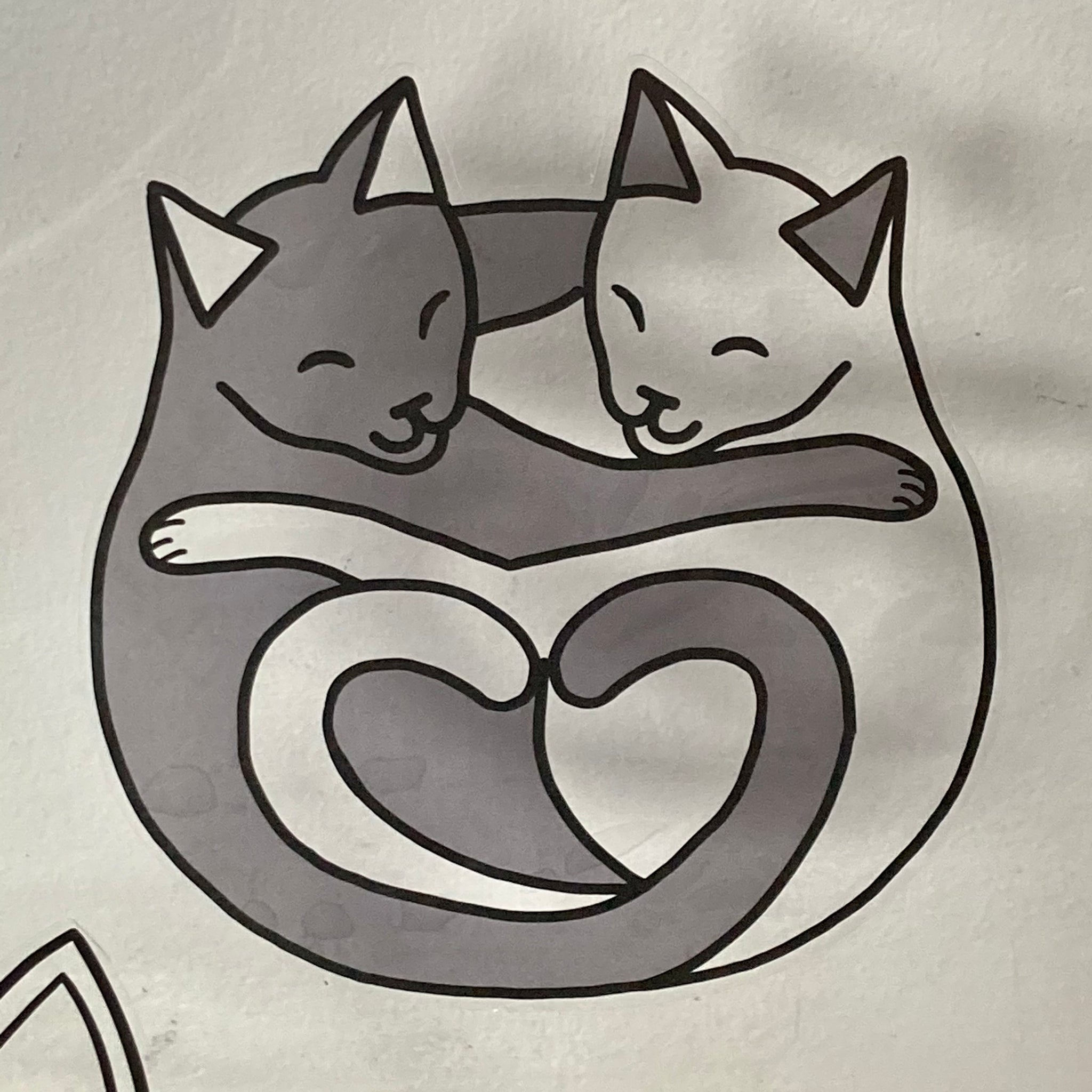 Big Transparent Cuddling Cats Sticker