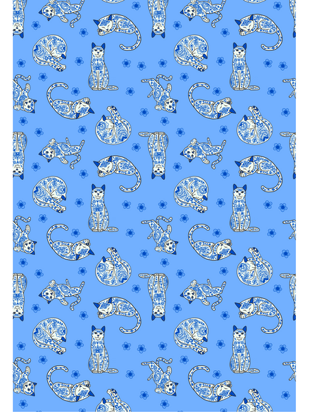 Porcelain Cats Tea Towel