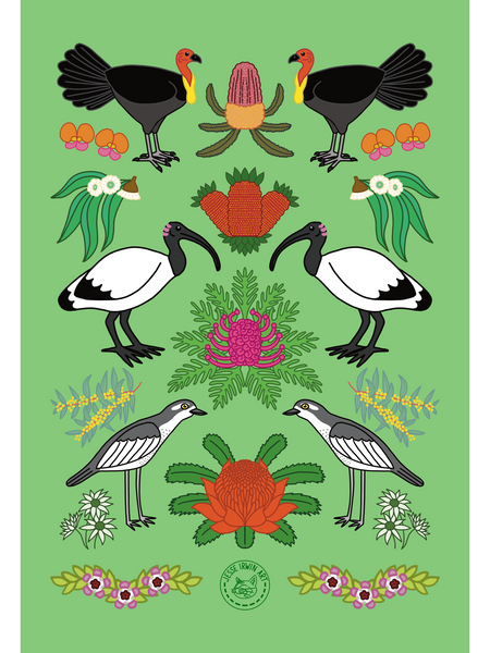 Aussie Friends and Flowers Tea Towel