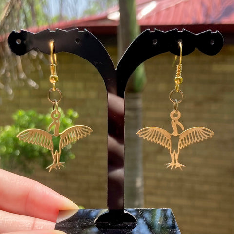 Brass charm Ibis earrings