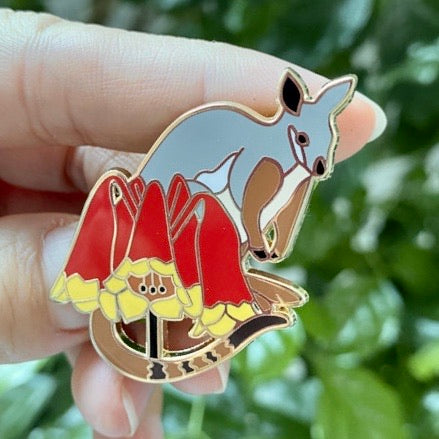 Brush Tailed Rock Wallaby and Christmas Bells hard enamel pin