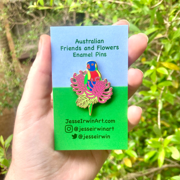 Rainbow Lorikeet and Grevillea Hard Enamel Pin
