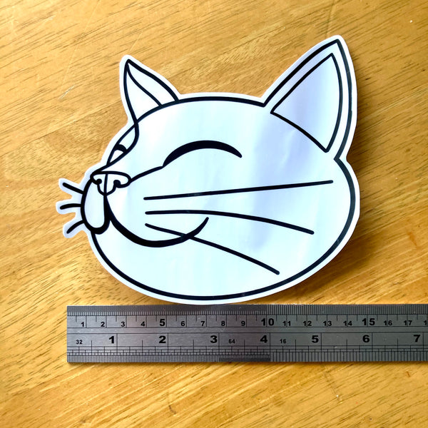 Big Transparent Happy Cat Sticker