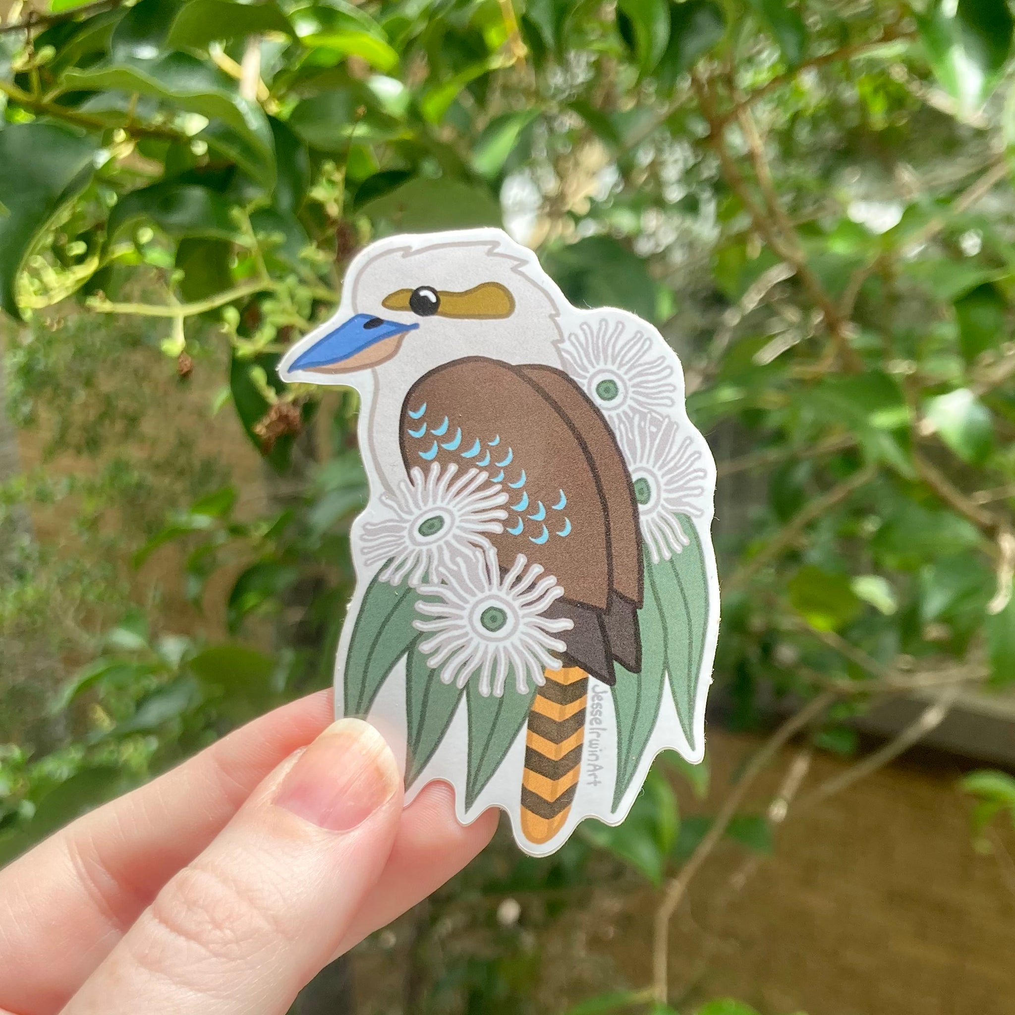 Kookaburra and Ghost Gum Blossom Vinyl Sticker
