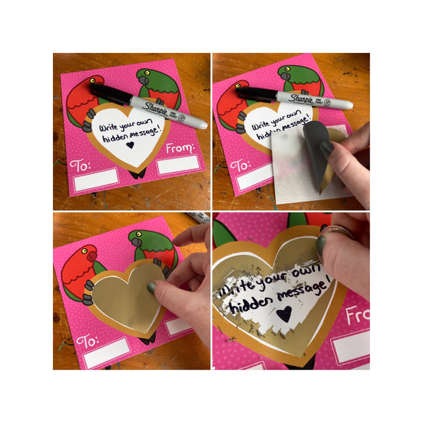 King Parrots Valentine's Day card with Scratch-off Heart Shaped Sticker! Gay and Lesbian Options Available, Envelope Included