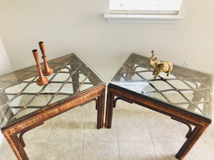 Rattan and Glass Side Tables (2 available)