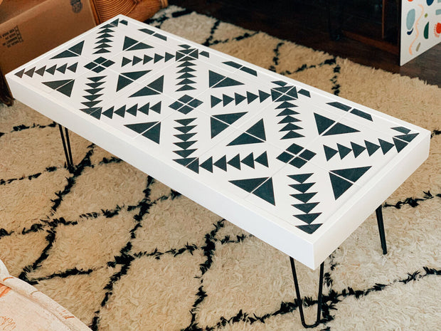 Black & White Geometric Tiled Table