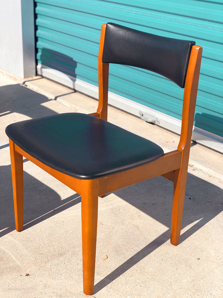 Black Mid Century Vinyl Dining Chairs (4 total)
