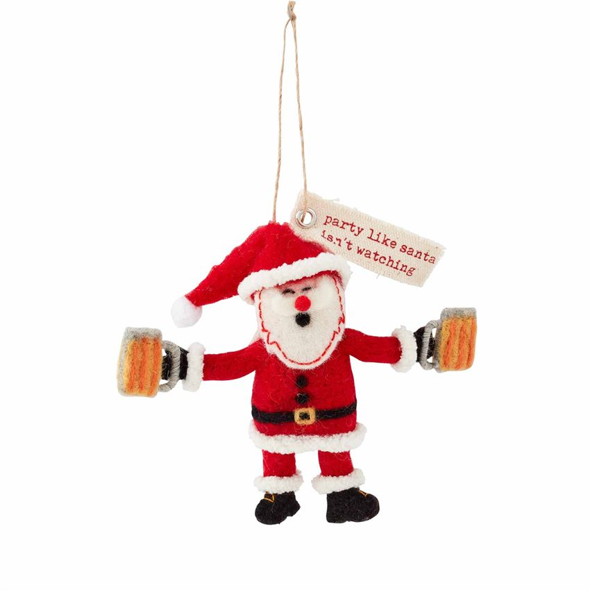 Santa Drinking Felt Ornament
