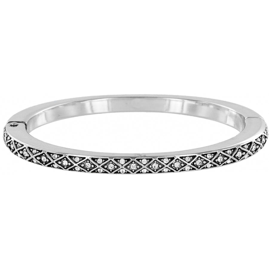 JB0392 Sil/Stn Diamond Hng Bangle