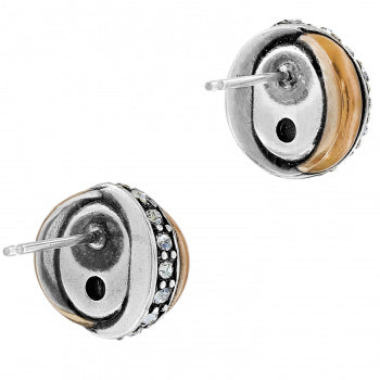 JA590E Neptune's Rings Pearl Button Earrings