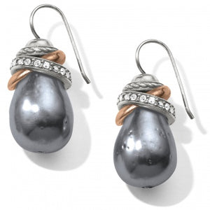 JA365H Neptune's Rings Gray Pearl French Wire Earrings