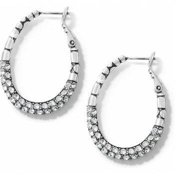 JE2702 Silver Pebble Pave Oval Hoop Earrings