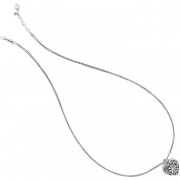 J44722 Silver Floral Heart Locket Necklace