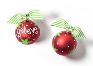 Believe Christmas Glass Ornament