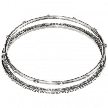 JF4280 Neptune's Rings Silver Pave Bangles