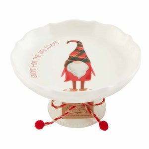 Gnome Holiday Pedestal Dish