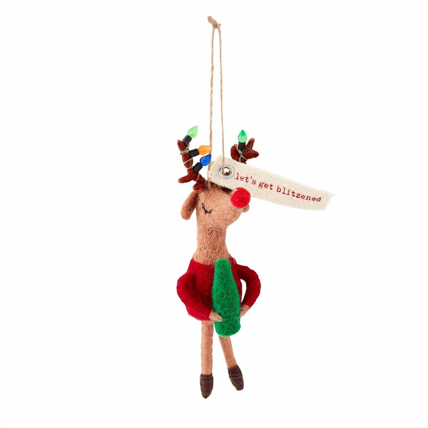 Reindeer Drinking Felt Ornament