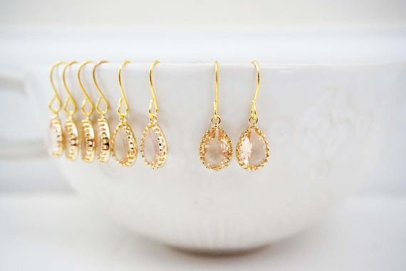 Dainty Champagne Gem Earrings