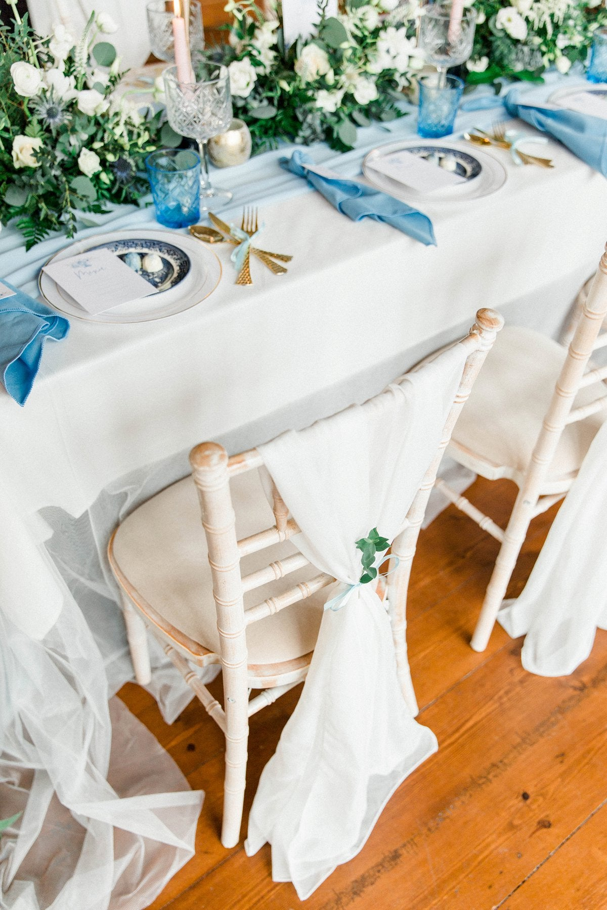 Dusky Blue Wedding Stationery and dinner menus at Thicket Priory
