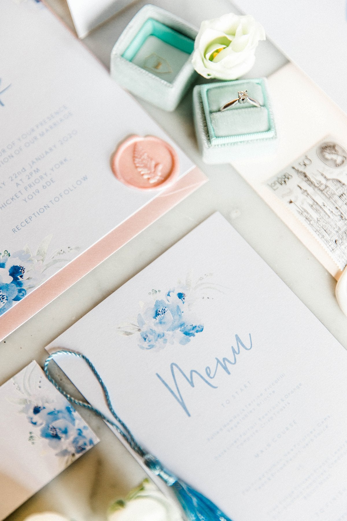 Dusky Blue Wedding Stationery Suite at Thicket Priory