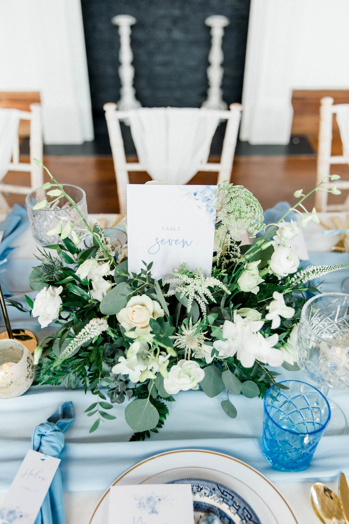 Dusky Blue Wedding Table Scape at Thicket Priory