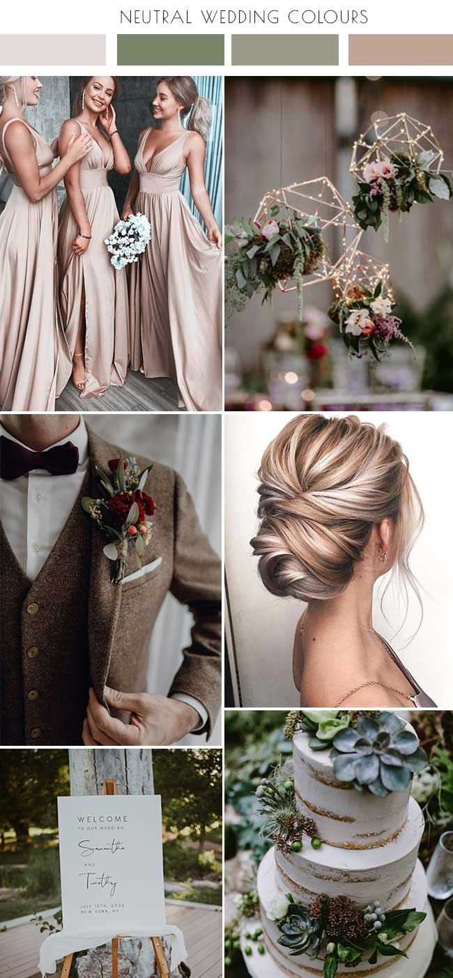 Forest Green and Champagne Wedding Colour inspiration palette