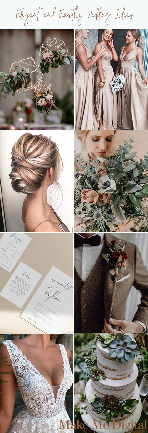 Blush, golden, natural, earthy toned wedding inspiration by Make Me Digital