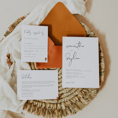 Modern Wedding Invitation suite with modern calligraphy