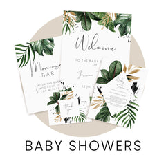Shop baby shower invitations, signs, decor and other stationery