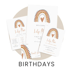 Shop birthday invitations, signs, decor and other stationery