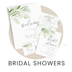 Shop bridal shower invitations, signs, decor and other stationery