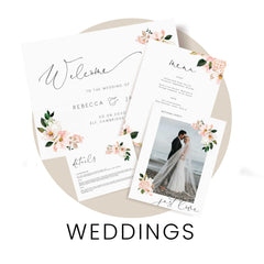 Shop wedding invitations, signs, decor and other stationery
