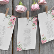 Serena Pink Peony Wedding Table Plan - MakeMeDigital
