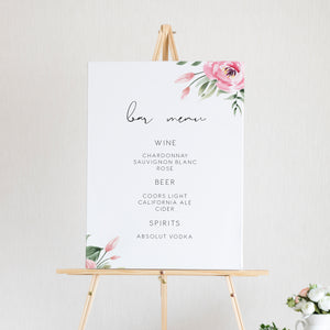 Serena Pink Peony Bar Sign - MakeMeDigital