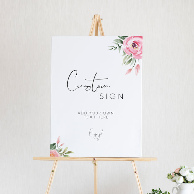 Serena Pink Peony Custom Sign (6 sizes) - MakeMeDigital