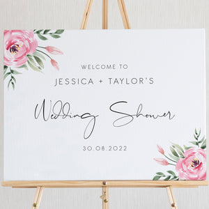 Serena Pink Peony Wedding Shower Welcome Sign - MakeMeDigital