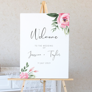 Serena Pink Peony Wedding Welcome Sign - MakeMeDigital