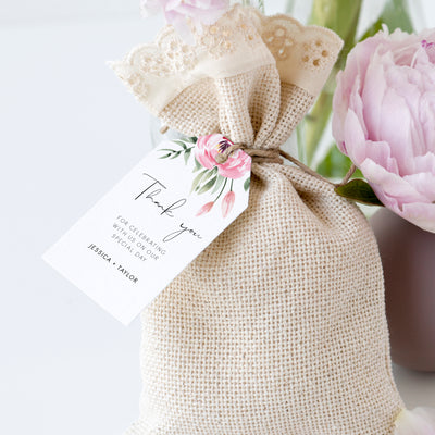Serena Pink Peony Thank You Gift Tag - MakeMeDigital