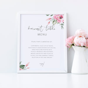 Serena Pink Peony Harvest Table Menu Sign - MakeMeDigital