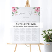Serena Pink Peony Wedding Seating Chart Portrait - MakeMeDigital