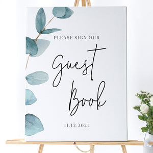 Nala Blue Eucalyptus Guest Book Sign - MakeMeDigital