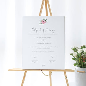 Serena Pink Peony Marriage Certificate - MakeMeDigital